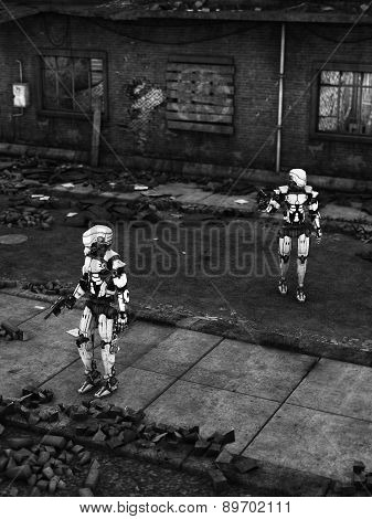Futuristic Soldier Robots In Ruined City.