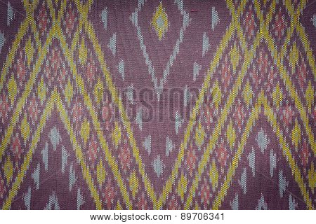 Close up Thai style handcrafted textile made by silk from northeast Thailand poster