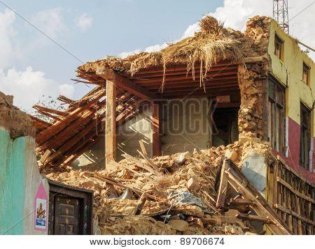 KOT DANDA, LALITPUR, NEPAL - MAY 2, 2015: Damaged house after the 7.8 earthquake that hit Nepal on April 25, 2015.