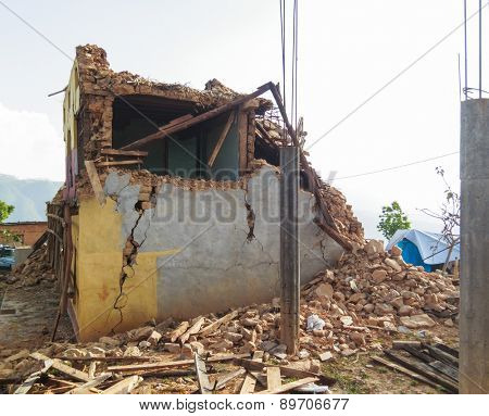 KOT DANDA, LALITPUR, NEPAL - MAY 2, 2015: Damaged house after the 7.8 earthquake that hit Nepal on April 25, 2015.