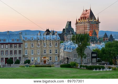 Quebec City skyline with Chateau Frontenac at sunset viewed from hill