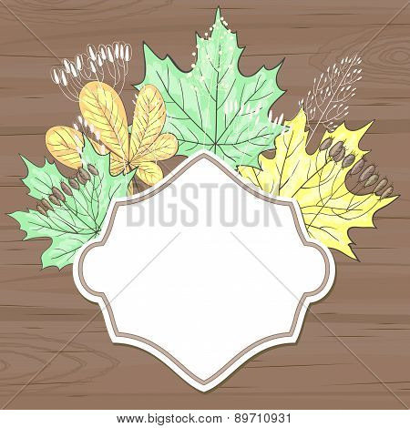 Retro Label With Leaves Over Brown Wood