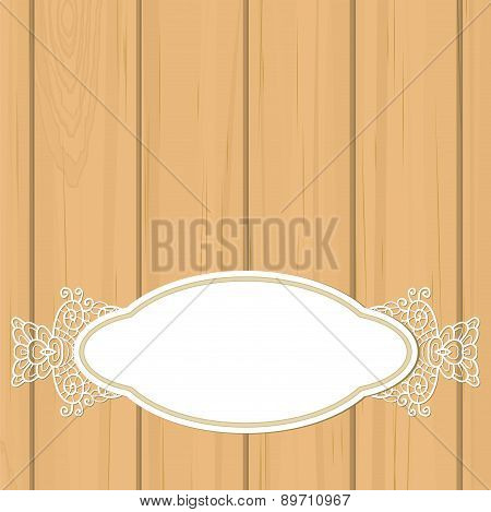 Retro Label Over Pale Orange Wood With Lace