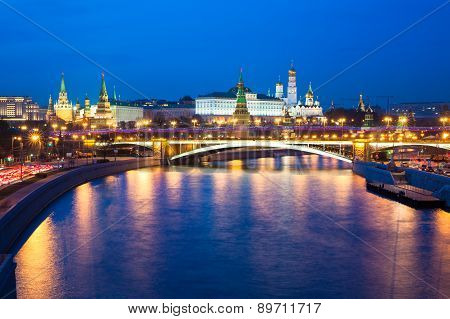 Dusk view of the Moscow Kremlin from Moskva river Moscow Russia. poster