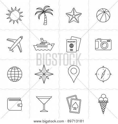 Vacation and travel icon set. Simple outlined icons. Linear style