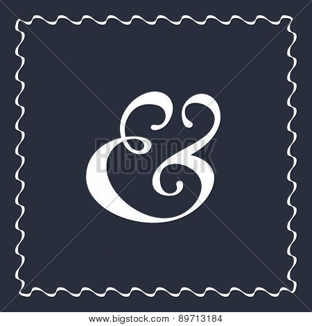 Custom ampersand symbol for wedding invitation decoration. Vector illustration