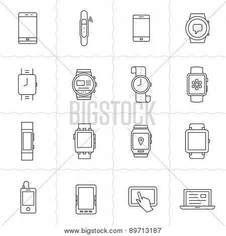 Mobile gadgets and smart watches linear icon set. Wearable  electronic devices. Simple outlined icons. Linear style