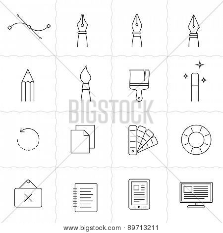 Designer tools II. Vector icons of drawing and painting tools. Simple outlined icons. Linear style