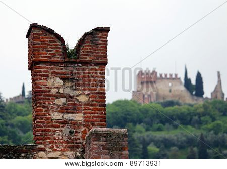 Battlements Of The Castle On The Walls To Protect The Soldiers