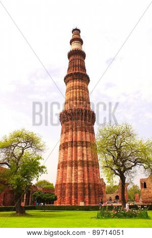 Qutub Minar Tower, New Delhi, India.  UNESCO World Heritage poster