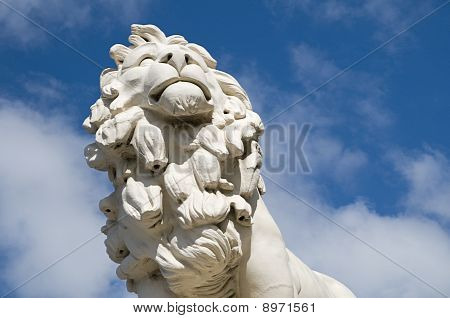 The South Bank Lion at the eastern end of Westminster Bridge in London. poster