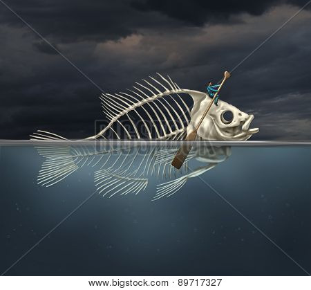 Resourcefulness recovery and ability business concept and managing a financial or environmental disaster crisis as a salvaging businessman on a fish skeleton rowing with a boat paddle towards new opportunities or climate change solution. poster
