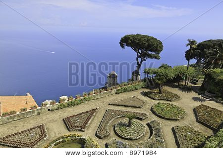 Beautiful View Of The Amalfi Coast From The Rufolo Gardens