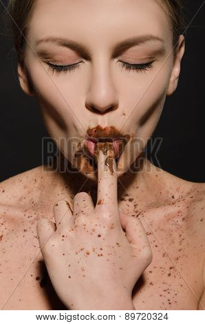 Sexy Woman With Chocolate, Finger In Your Mouth