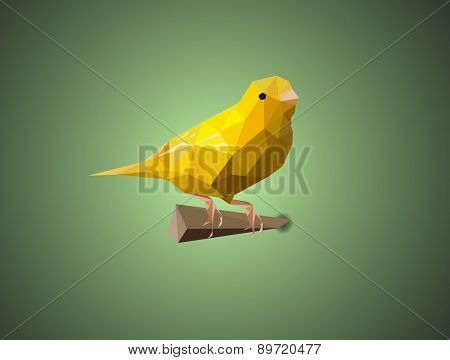 bird Canary vector illustration concept low polygon art