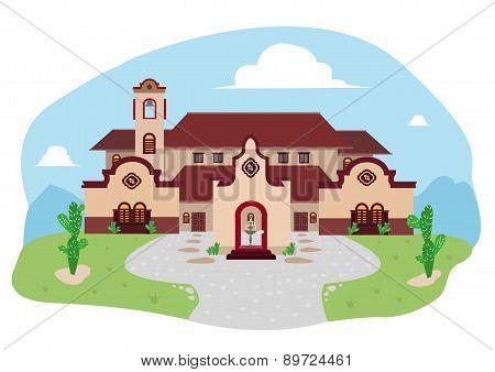 Spanish-Mediterranean or Hispanic House during Daytime Cartoon Drawing