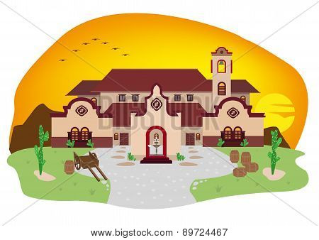 House with Spanish or Hispanic Architecture during sunset