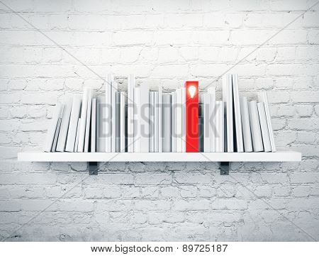 blank books on a shelf and one with idea cover. 3d rendering