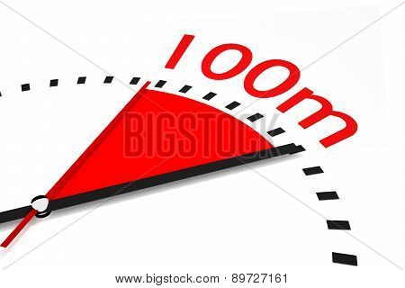 Clock With Red Seconds Hand Area One Hundred Meters Race