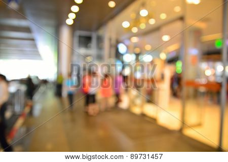 Blur Or Defocus Image Of People Enter Entrance Door Of Shopping Center