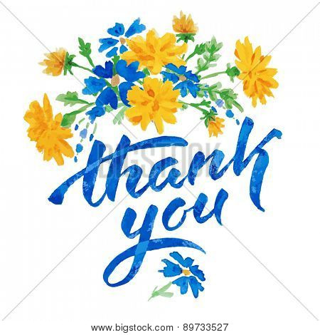 Vector hand drawn watercolor colorful  floral card with summer flowers dandelion and inscription thank you.  Isolated on white background. Copyspace for your text.