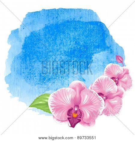 Blue sea ocean fresh watercolor background with exotic tropical flowers orchids. Isolated on white background.