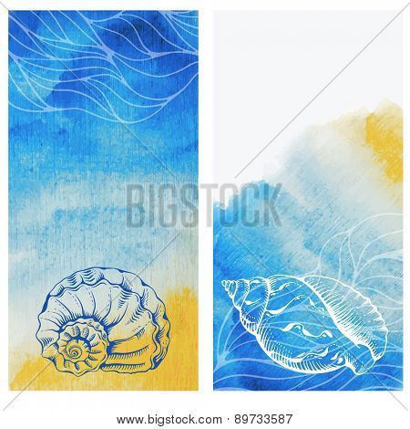 Vintage cards with hand drawn sea elements - shells and corals on watercolor background. Vector illustration.