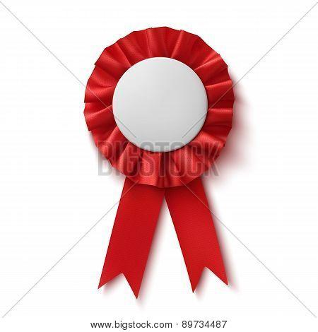 Blank, realistic red fabric award ribbon.