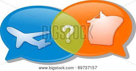 Illustration concept clipart speech bubble dialog conversation negotiation argument air and sea transport modes poster