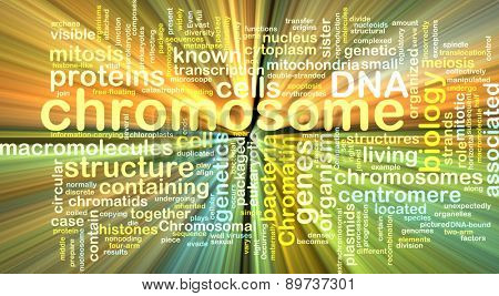 Background text pattern concept wordcloud illustration of  chromosome glowing light