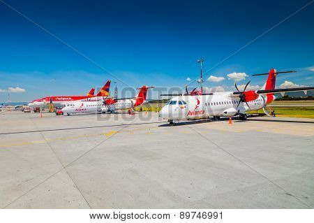 ATR 72 twin-engine turboprop short-haul Avianca airline at international airport el Dorado in Bogota