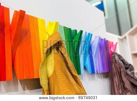 Multicolored wooden hanger