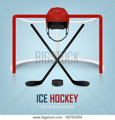 Ice Hockey Helmet, Puck, Sticks And Goal. Vector Background.
