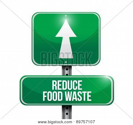 Reduce Food Waste Road Sign Concept
