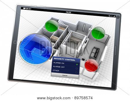 3D rendering of a tablet with a house monitoring app