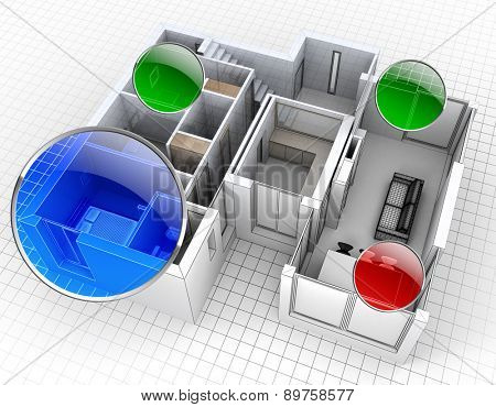 3D rendering of an apartment, aerial view, with surveillance spots