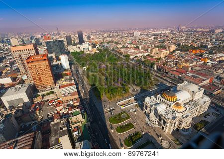 Areal view of the Palace of fine arts, central Alameda park and downtown Mexico capital city from Torre Latinoamericana to the north west direction poster