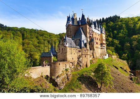 Eltz castle gates and fortification side view Muenstermaifeld, Mayen-Koblenz, Rhineland-Palatinate, Germany Europe poster