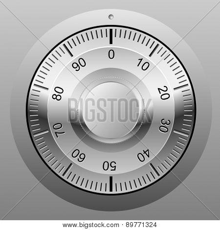 Realistic illustration of safe combination lock wheel.