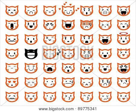 Vector Icons Of Cat Faces