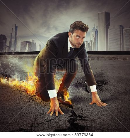 Businessman with strong determination