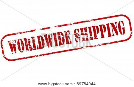 Rubber stamp with text worldwide shipping inside vector illustration