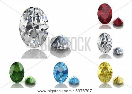 Set Of Colored Gems (high Resolution 3D Image)
