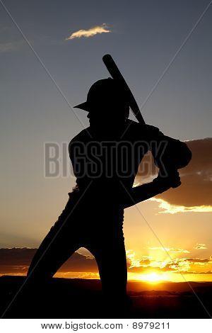 Silhouette Baseball Ready To Swing Sunset