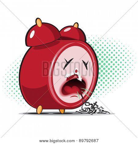 red sick alarm clock spews his digits