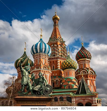 Saint Basil Church and Minin and Pozharsky Monument in Moscow Russia poster