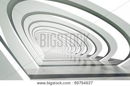 Futuristic Exterior Pathway Structure Under Modern Arcs