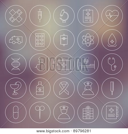 Medical Circle Health Care Icons Set