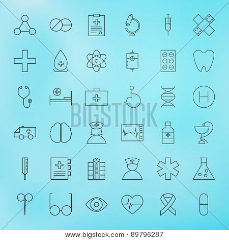 Medical Line Health Care Icons Set