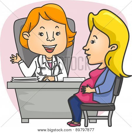 Illustration of a Pregnant Girl consulting with her Ob-Gyn